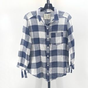 Abercrombie & Fitch Button Down Navy Blue Top 106